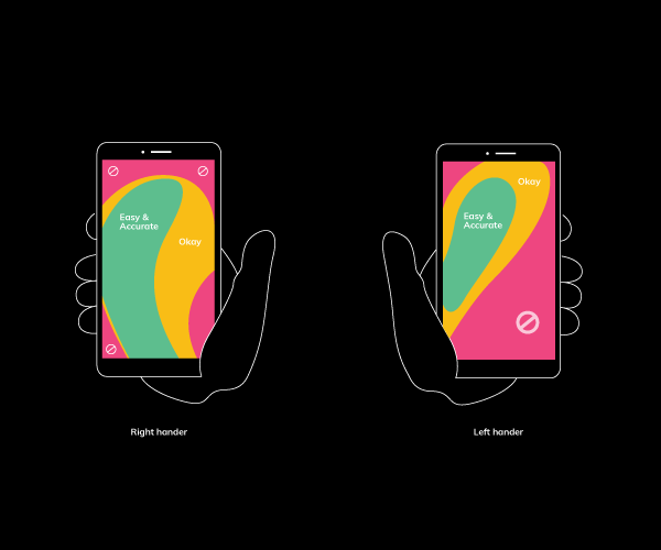 Pictures of same mobile held on two different hands showcasing different mobile UX design