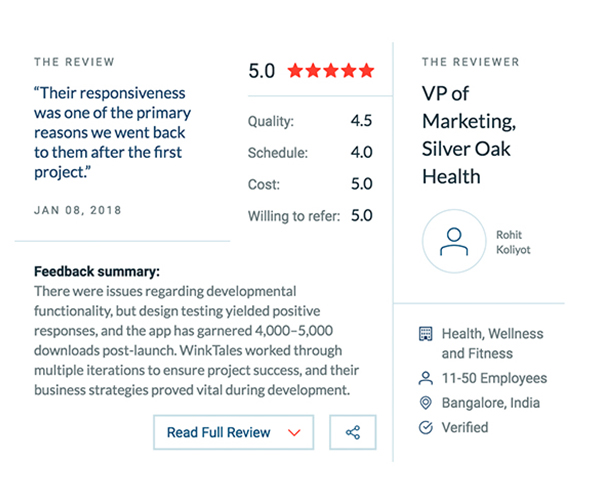 Screenshot of review of Winktales from SilverOak Health company